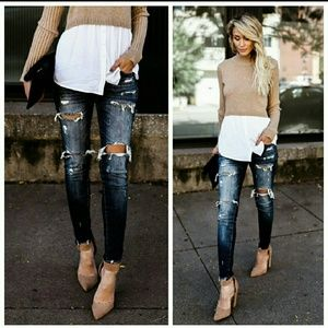 Denim - Dark Distressed Skinny Jeans